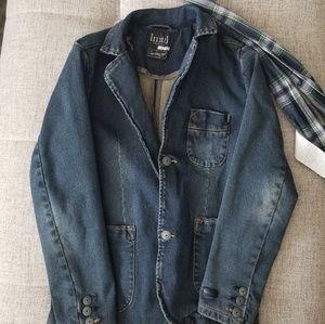 Boys 9 yo jean jacket with scarf, never worn